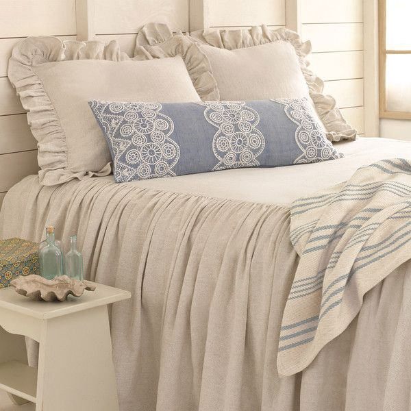 Pine Cone Hill Savannah Linen Chambray Dove Grey Bedspread ($348) ❤ liked on Polyvore featuring home, bed & bath, bedding, bedspreads, ruffled bedding, king size bedding, twin bed linens, king bedding and queen bedspreads