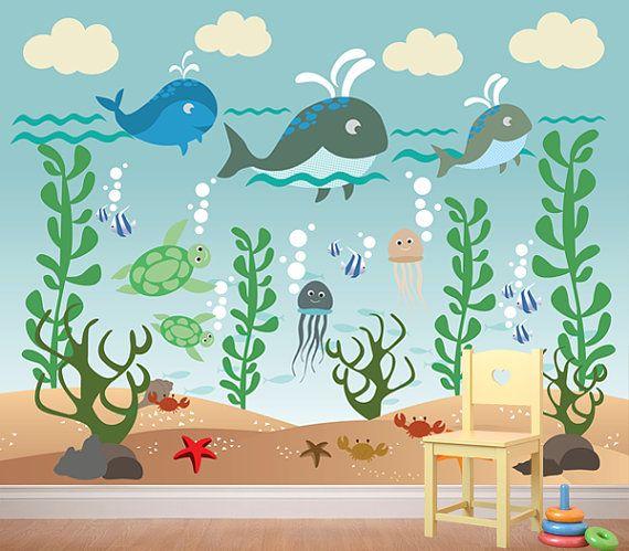 Aquarium Wall Decal Underwater Wall Decal by WallArtForAllAges