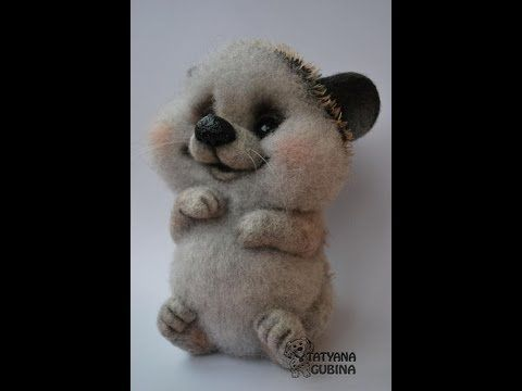 Master class for creating a hedgehog in the art of dry felting - YouTube