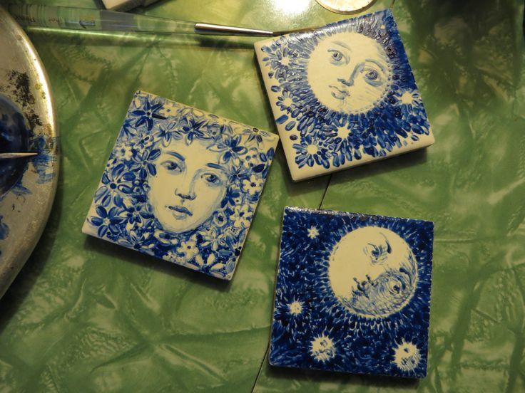 Tile paintings in progress.  L. Krahn Muenster
