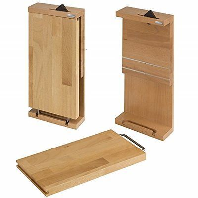 -features a small cutting board. -knives are not included. Knife type: -cutlery storage. Color: -natural brown. Blade material: -wood. Commercial use: -yes. Eco-friendly: -yes. Dimensions: -19. 3'' height. Overall width - side to side: -8. 87. Overall length - end to end: -3. 35. Overall product weight: -7. 28 lbs. Features: a chef's dream, an elegant way to display 4 high-end knives and eclectic cutting board by attaching to your kitchen wall; cutting board removes for usewall-mounte...