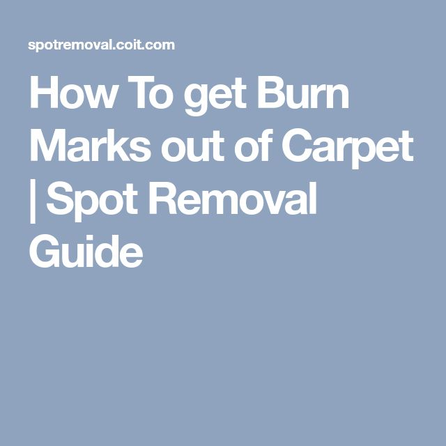How To get Burn Marks out of Carpet | Spot Removal Guide