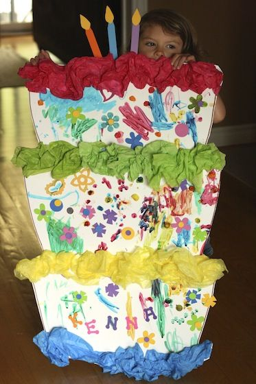 3-foot tall birthday cake craft - makes a super birthday party activity or game…