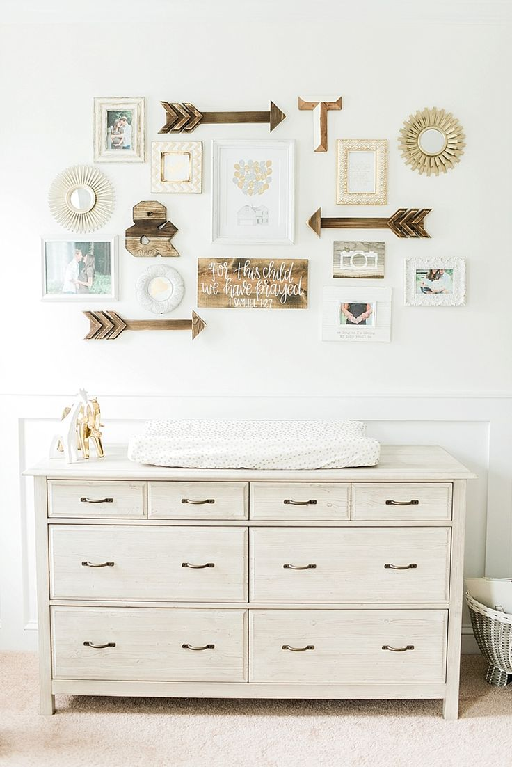 Nursery gallery wall perfection. Dresser from pottery barn kids (photo by ajdunlap.com) http://ajdunlap.com/taylor-grace-raleigh-newborn-photographer/