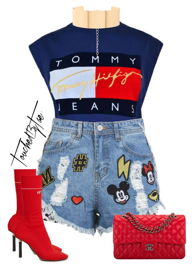 """""""Untitled #500"""" by iamtaecarter ❤ liked on Polyvore featuring Tommy Hilfiger, Disney Stars Studios, New Look, Chanel and Vetements"""