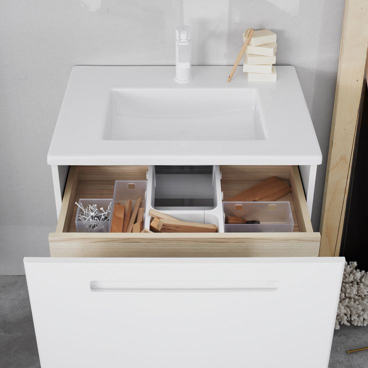 Swoon Soft. Inner drawer with storage boxes. #bathroom #home #scandinavian design #badrum