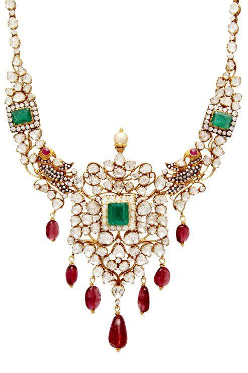 Uncut diamond, emerald n ruby necklace. Description by Pinner Mahua Roy Chowdhury