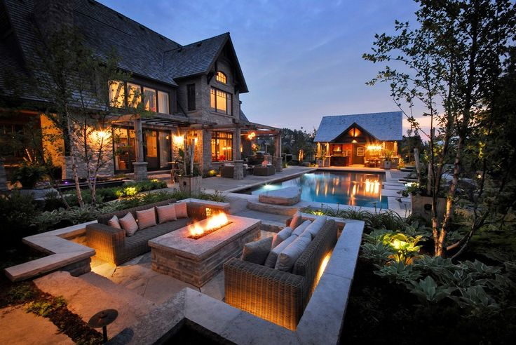 Contemporary Fire Pit with Landscape Custom Entertaining Area