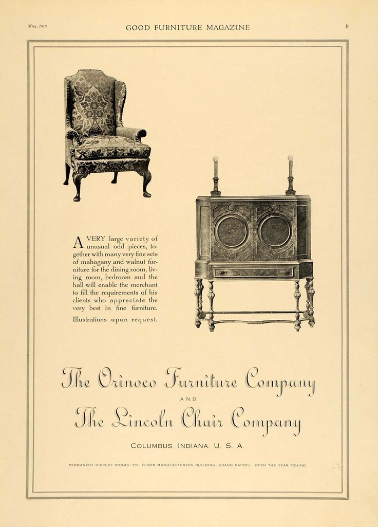 1919 Ad Orinoco Furniture Lincoln Chairs Wood Cabinet   ORIGINAL  ADVERTISING GF1. 18 best Vintage Ads images on Pinterest