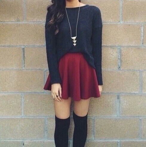 Burgundy Skater Skirt + Knee Socks