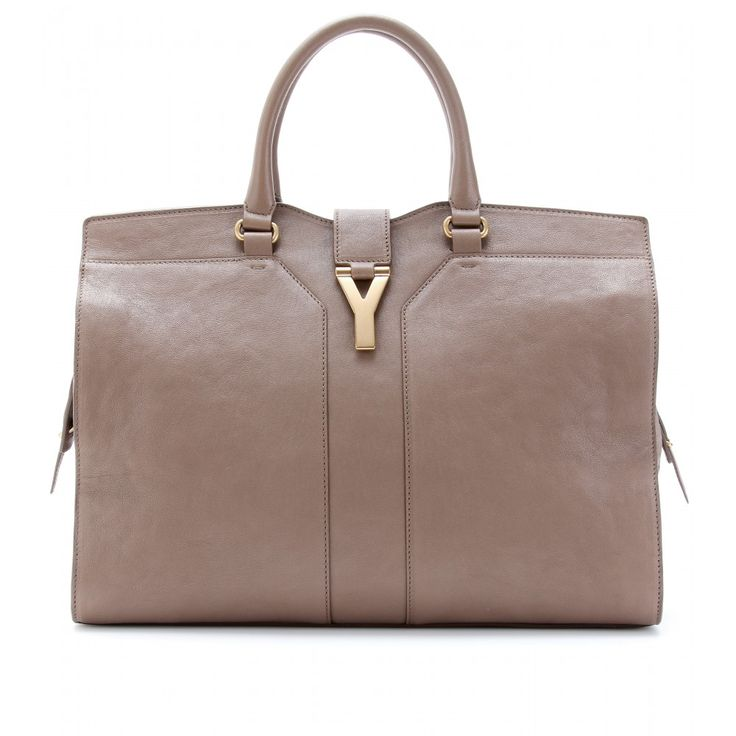 YSL Large Cabas Chyc East/West Leather Bag in dove beige. A good ...
