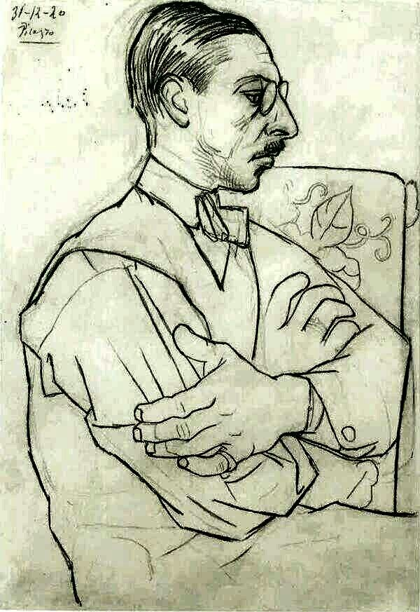 Portrait of Igor Stravinsky (1920, by Pablo Picasso) #CocoChanel Visit espritdegabrielle.com | L'héritage de Coco Chanel #espritdegabrielle