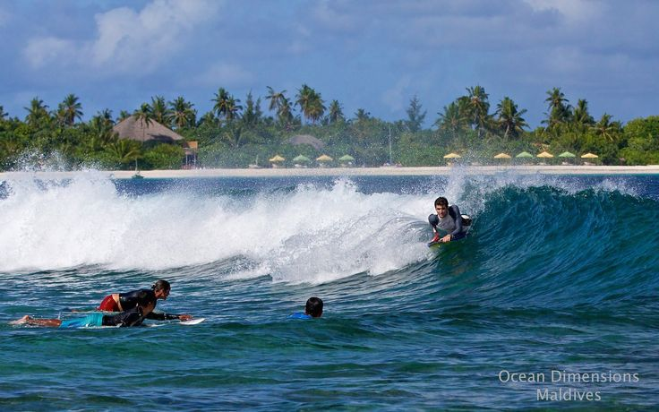 Surfing with Ocean Dimensions, Maldives. We drop you off and pick you up at Hulimendhoo break by boat. The wave is close enough, you can see Six Senses Laamu in the background but it is still too far to paddle out there.
