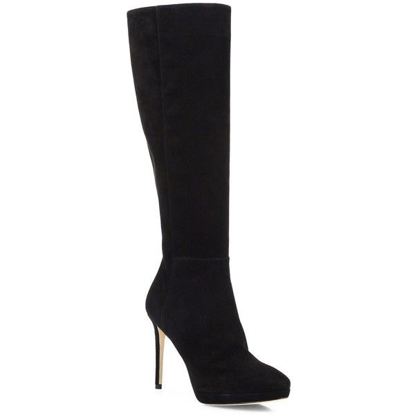 Jimmy Choo Tall Stretch-Suede Boots (£985) ❤ liked on Polyvore featuring shoes, boots, botas, apparel & accessories, black, tall black boots, black boots, stretch knee high boots, black stretch boots and black stilettos