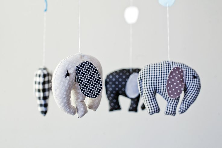 Elephants in circus in black -  baby crib mobile, nursery mobile in black and white. $65.00, via Etsy.