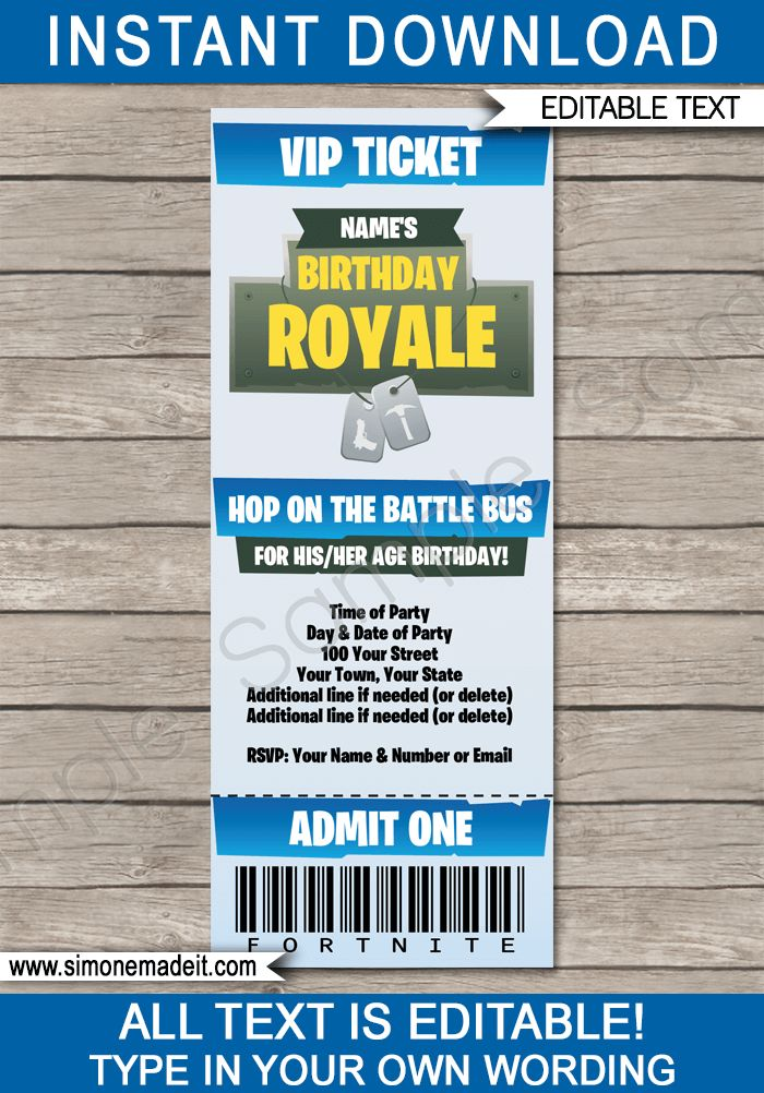 fortnite party ticket invitation template  u2013 blue
