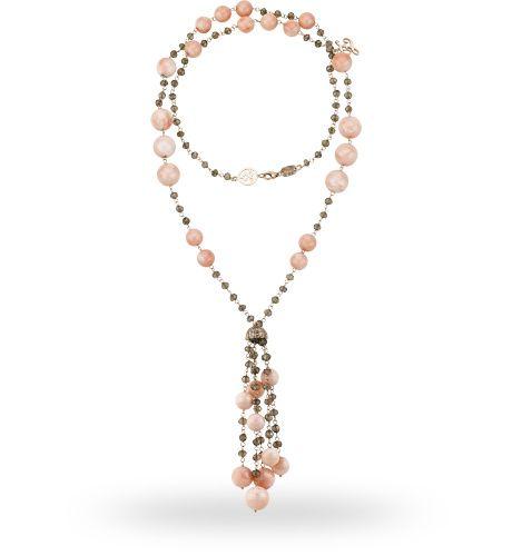 Collana in oro rose 18 kt. con 130.00 ct. di corallo, quarzo rutilato e 0.19 ct. di diamante - Zoccai #gold #necklace