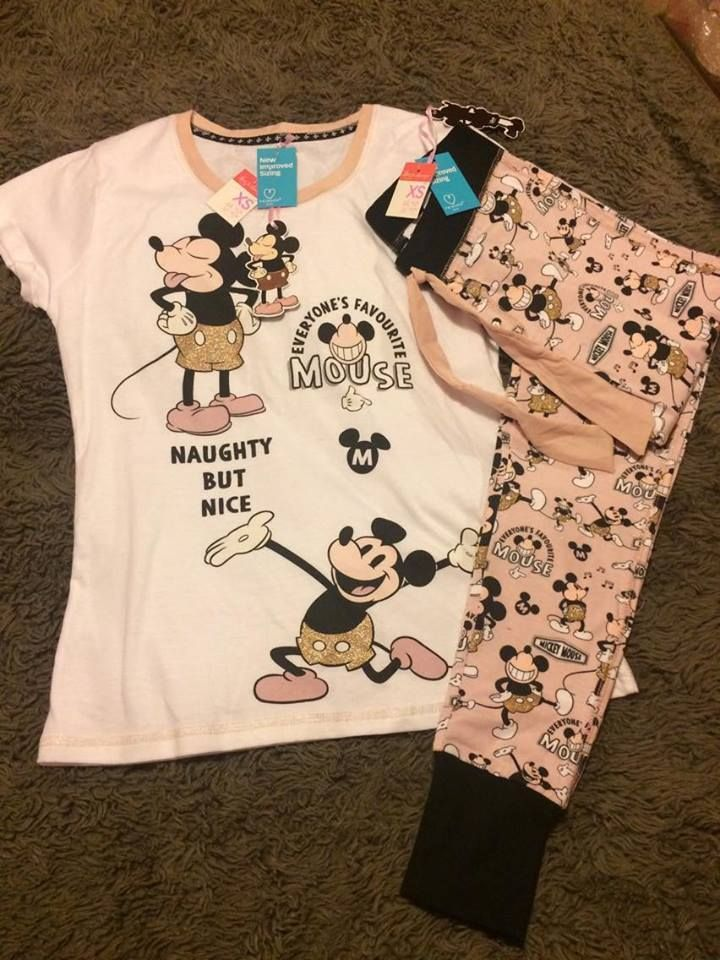 3b93743f52 Ladies Primark Disney Mickey Mouse Sequin T-shirt and Leggings Pyjama Set