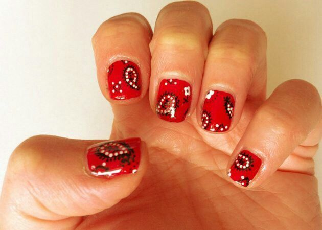 Red/black-white paisley print country girl nail art. These look like a bandana!!