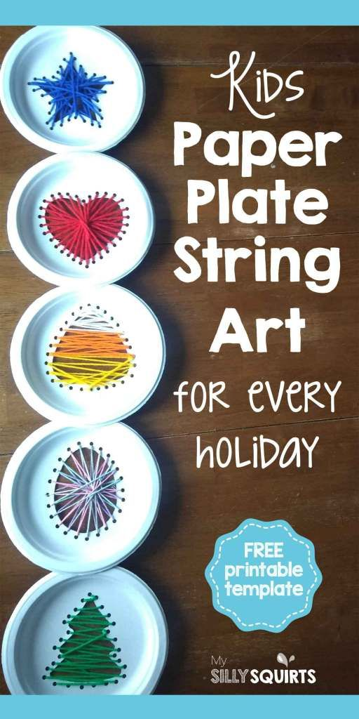 Kids paper plate string art for every holiday