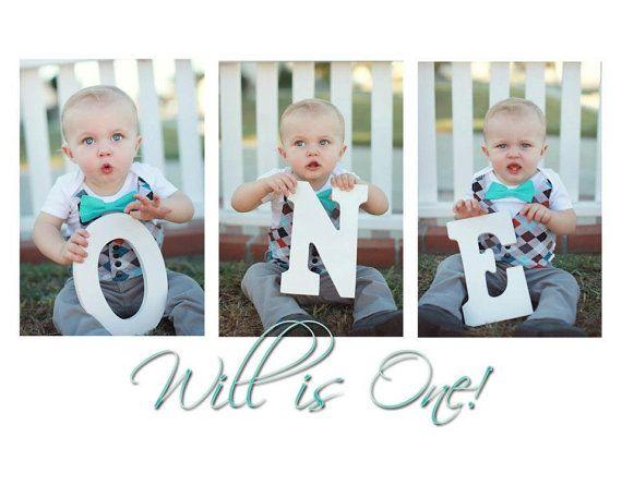 Love this idea!  First Birthday Argyle Onesie with Aqua Bow Tie, Vest, Tie and Suspenders, First Birthday Outfit Boy, Baby Boy First Birthday Bow Tie Onesie