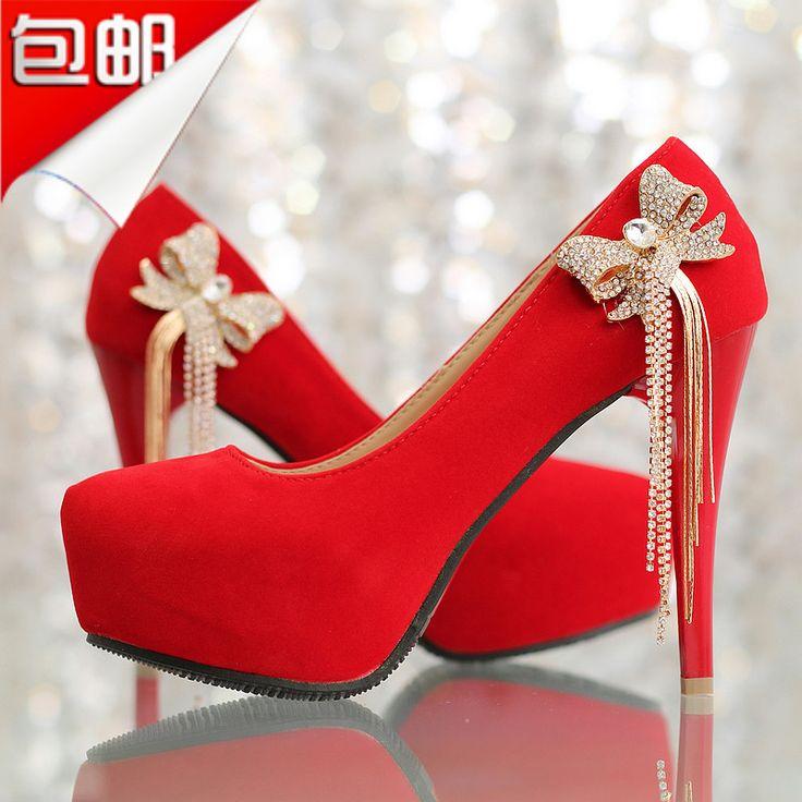 С бантом горный хрусталь кисточкой красный свадебные туфли на каблуках туфли на платформе свадебное платье туфли женская туфли на высоком каблуке