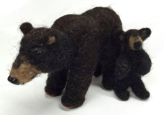Felted Black Bear  Mom with Cub by TheBackyardBear on Etsy