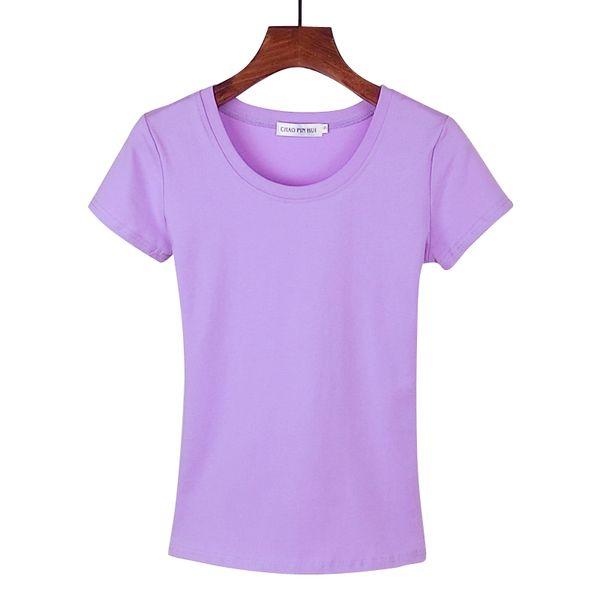 Корейский круглый шею белого хлопка с коротким рукавом футболки женский с коротким рукавом футболки Тонкий сострадательным сплошной цвет Amoi рубашки сострадательным