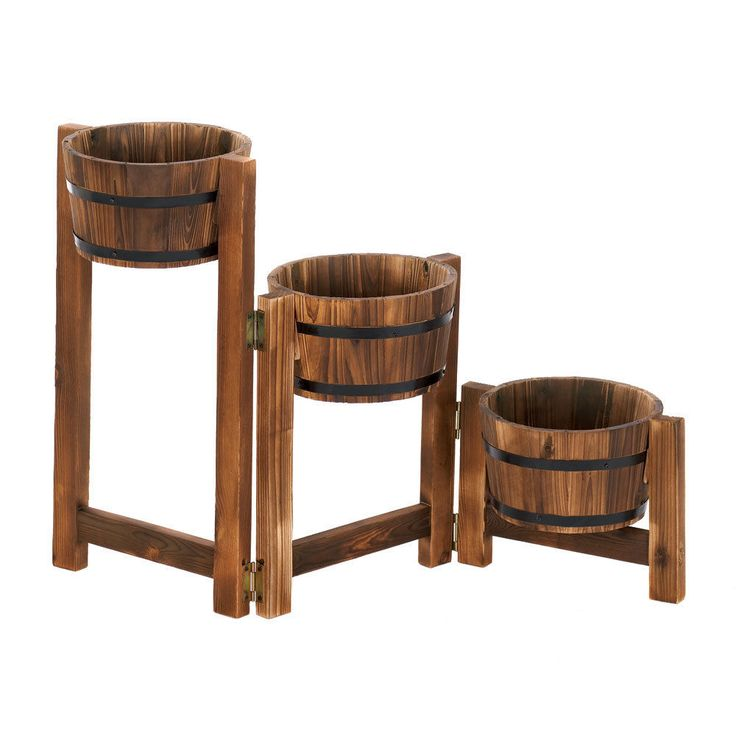 Country Barrels Planter Trio Flowers Plants Garden Patio Yard Home Outdoor Wood #SummerfieldTerrace