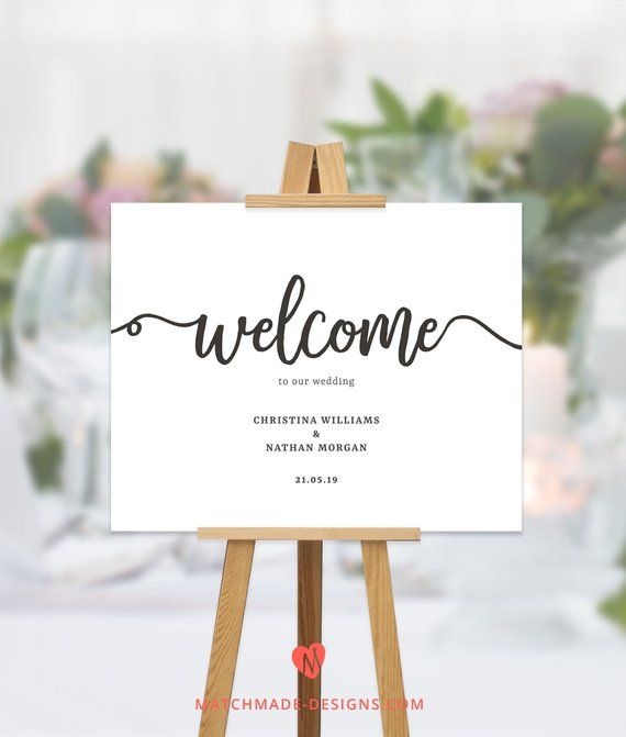 Script Wedding Welcome Sign Simple Welcome To Our Wedding