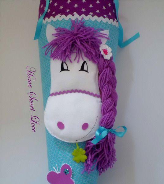 """Schultüte """" Pony türkis """" Zuckertüte Pferd von Home-sweet-love auf DaWanda.com"""