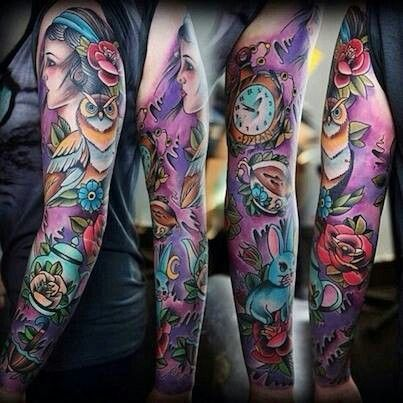 3d arm sleeve tattoo in purples and blues