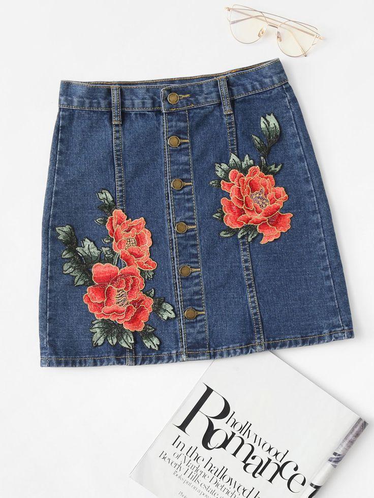 Shop Flower Appliques Button Front Denim Skirt online. SheIn offers Flower Appliques Button Front Denim Skirt & more to fit your fashionable needs.