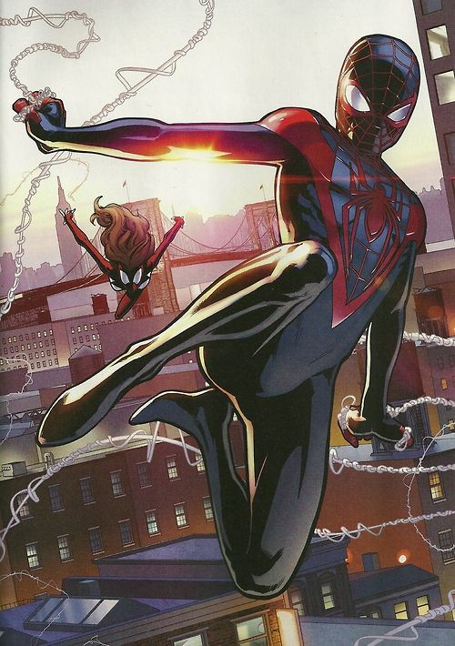 Ultimate Spider-Man (Miles Morales) and Spider-Woman (Jessica Drew) by David Marquez and Justin Posner