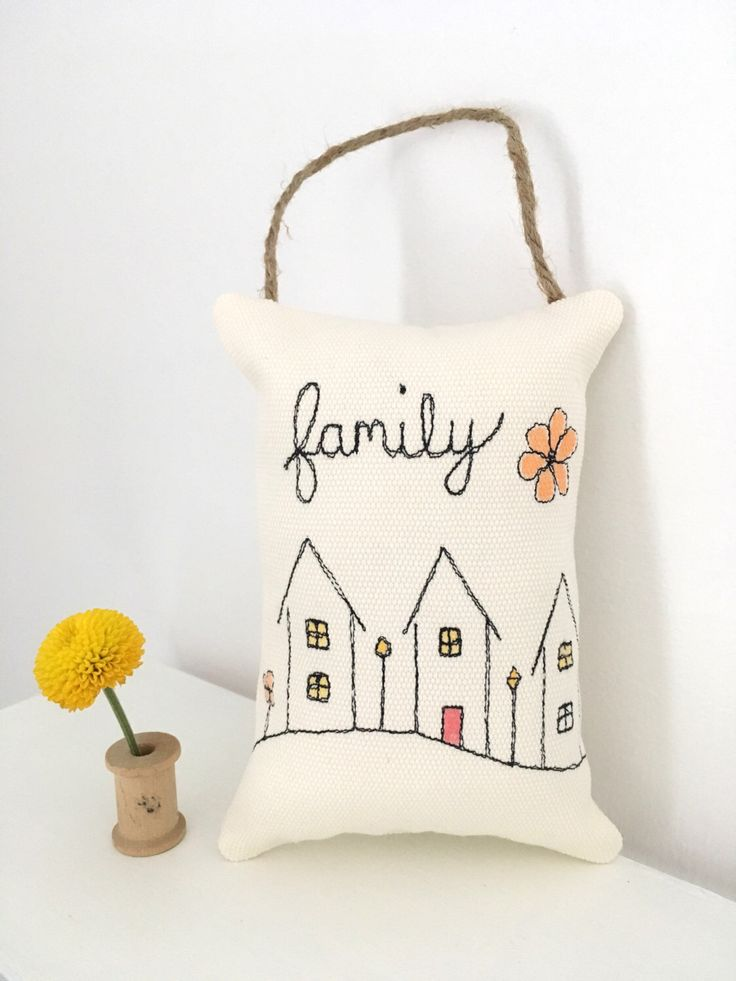family pillow, mini pillow, door hanger, free motion embroidery, hanging pillow, folk art houses, art pillow, small pillow, primitive style by MillsterCreates on Etsy https://www.etsy.com/listing/489513017/family-pillow-mini-pillow-door-hanger
