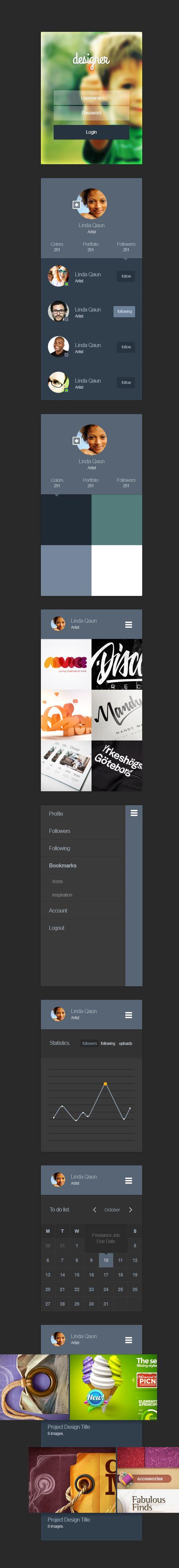 Portfolio App Design Ui Kit Psd http://www.blugraphic.com/
