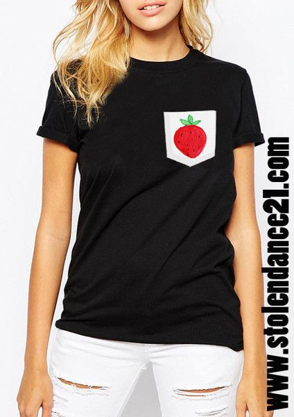 Strawberry Real Pocket Tee Crew Neck Top T shirt code50863