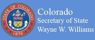 Colorado Secretary of State, Wayne W. Williams text with Colorado State Seal