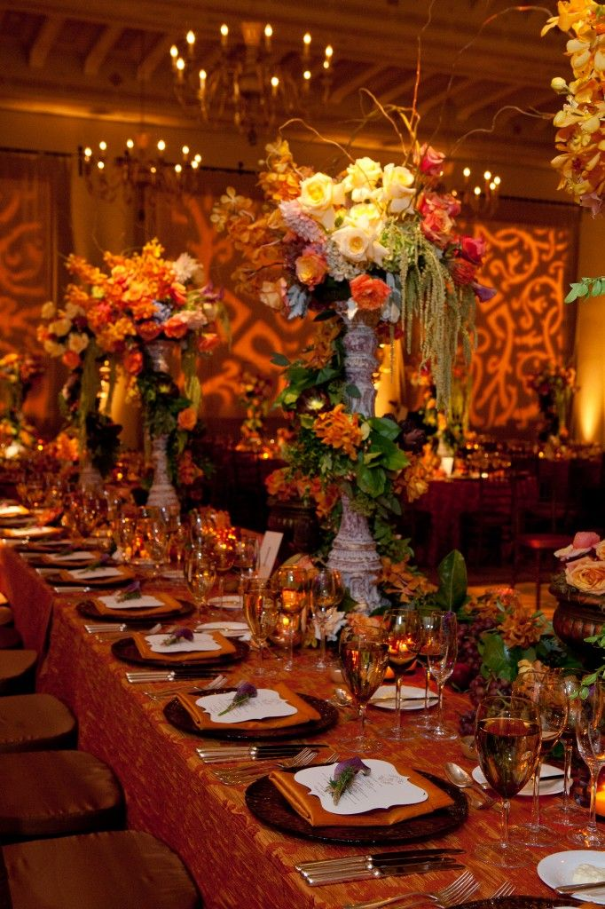 fall wedding table decorations gilded orange green and henna style lighting glousman 4043