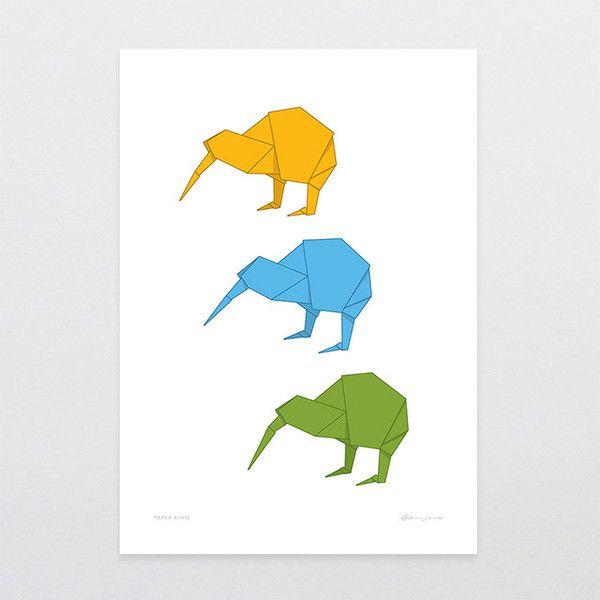 Paper Kiwis - Art Print by Glenn Jones Art - art to make you smile. Available in a range of sizes. Click image to buy online. www.glennjonesart.com