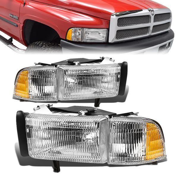 94 02 Dodge Ram 1500 2500 3500 Headlights Corner Lamps Chrome Housing In 2021 Dodge Ram 1500 Dodge Ram Dodge