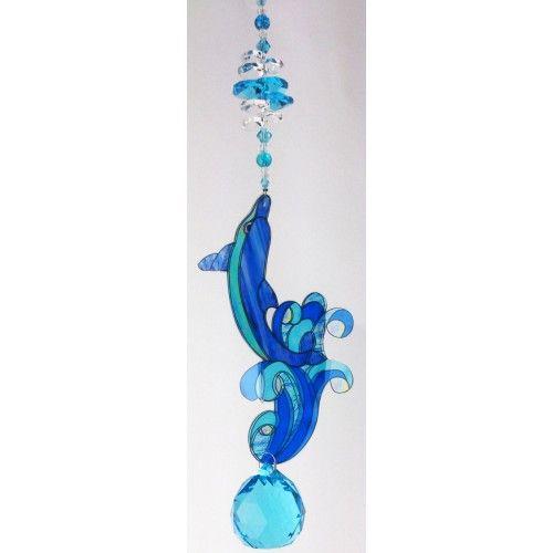 Dolphin Suncatcher - DPSC001 - Crystal Suncatchers, Stick on Stained Glass, Leadlight Adhesive Overlay - Just Like Leadlight