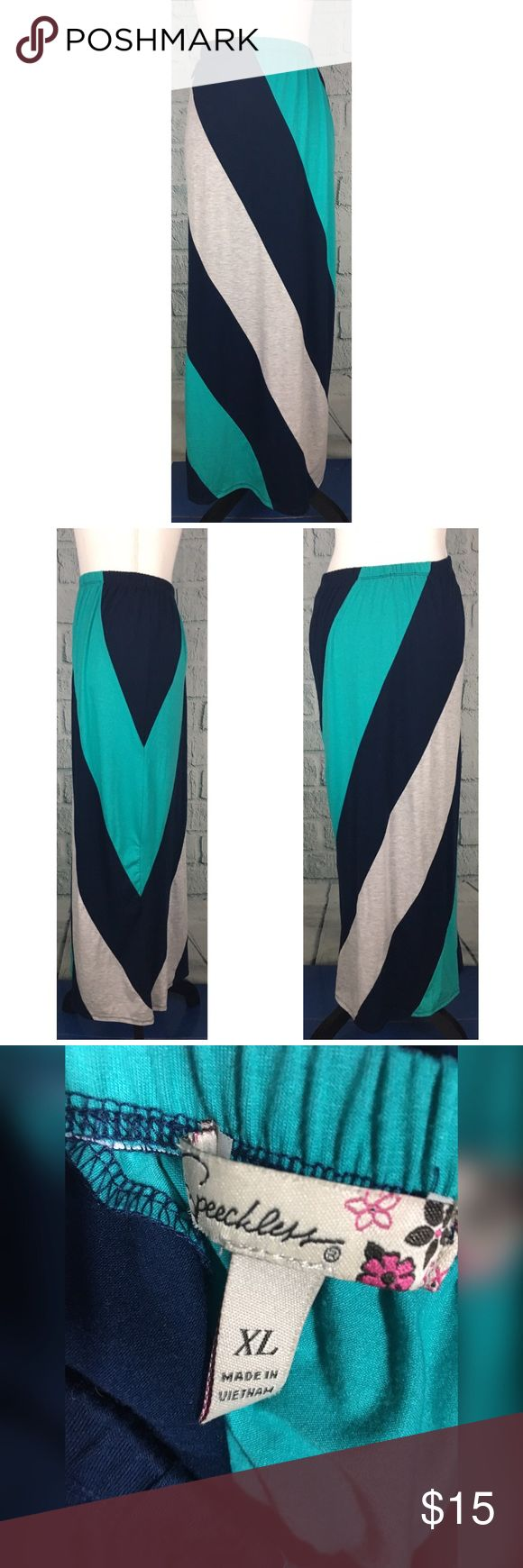 """Speechless Stretch Blue Striped Maxi Skirt Stretch maxi skirt from Speechless Good used condition - gently worn Polyester/Rayon/Spandex - super soft and stretchy Size XL --- Waist: 26""""-46"""" --- Hips: 40""""-52"""" --- Length: 40"""" Speechless Skirts Maxi"""