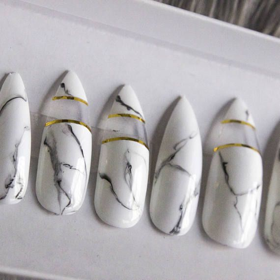 Marble Nails with Clear Cutout Press on Nails Gel Nails