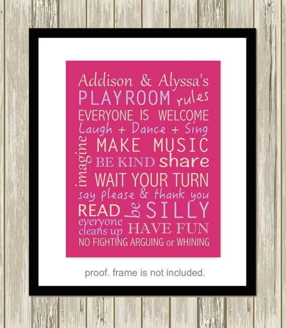 Playroom rules, playroom wall art, children wall decor, playroom sign, little girls room decor, choose your colors wall by PicabooArtStudio