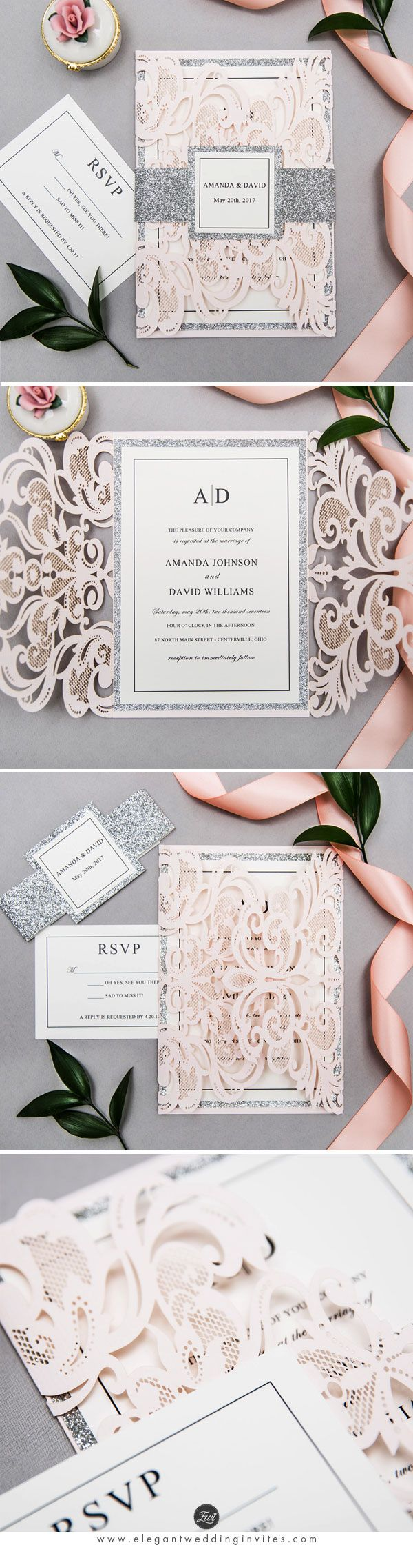 Glam Blush Pink and Silver Laser Cut Wedding Invitation with Glitter Belly Band and Customized Tag EWWS204