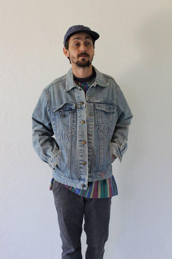 90s Guess Denim Light Wash Oversized Jacket Mens Medium