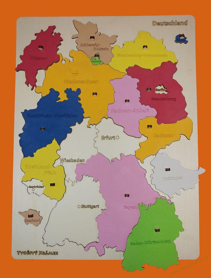 Montessori jemné v barvách | Puzzle mapa Německa, barevná | Tvořivý krámek