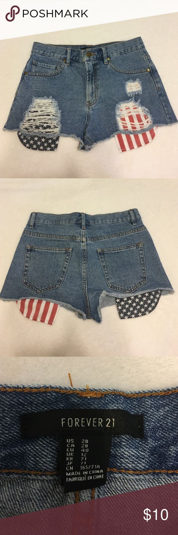 Forever 21 american flag shorts Distressed denim shorts with Star and Stripe designs on the pockets Forever 21 Shorts Jean Shorts