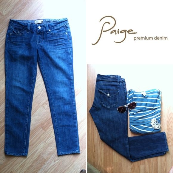"""Paige Pico Peg Leg denim, cropped skinny Skinny, lowrise denim featuring a 27"""" inseam that is perfect for showing off your favorite footwear. A medium wash with light whiskering for a unique finish. Finished with a zip fly and single button closure. These jeans feature a comfortable stretch, 98/2 cotton spandex, not stiff and drape beautifully. Inseam 27"""". 7.5"""" rise. 15"""" across waist laying flat. In excellent condition. Size 27. Paige Jeans Jeans Ankle & Cropped"""